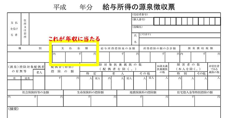 理学療法士の源泉徴収票で年収がわかるように示した画像
